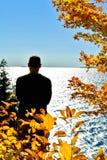 Man Looking Out Over Ellison Bay in Door County, WIsconsin