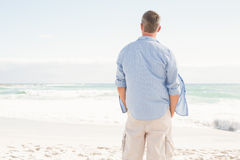 Man looking out to sea Stock Image