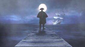 Man looking out to sea at ghost ship with full moon 4K