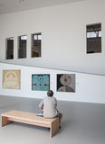 Man looking at the painting in gallery Danubiana, Bratislava Stock Image