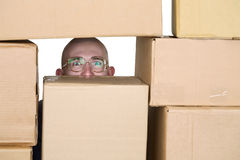 Man looking through pile of cardboard boxes Royalty Free Stock Photos