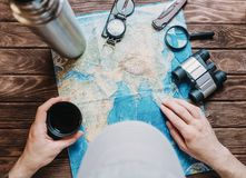 Man looking for a place to journey. Stock Photos