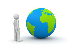 Man looking at planet Earth / globe. 3d isolated characters on white background series Stock Photo