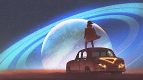 Man looking at the planet on a horizon. Night scenery of the man standing on a vintage car looking at the planet with rings on a horizon, digital art style Stock Photography