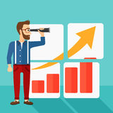 Man looking at positive bar chart. A hipster man with the beard looking through a spyglass at a positive bar chart on a blue background vector flat design Stock Photos