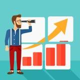 Man looking at positive bar chart. Stock Photos