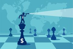 Man looking for profit of money. Vector style of businessman on chessboard looking away in search of money and successful career Stock Photos