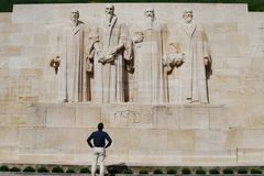 Man looking at Reformation Wall monument Royalty Free Stock Image