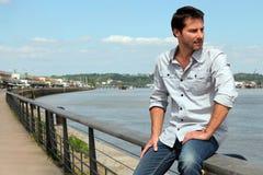 Man looking at river Royalty Free Stock Photo