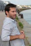 Man looking at river Royalty Free Stock Image