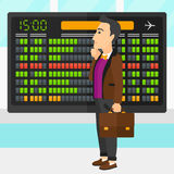 Man looking at schedule board. A man looking at schedule board at airport vector flat design illustration. Square layout Stock Photos