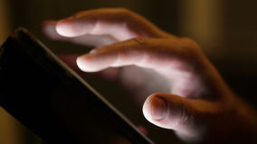 Man looking through screen pages on smartphone stock video footage