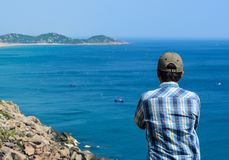 A man looking at the sea royalty free stock photos