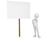 Man looking at the sign board. 3D render Royalty Free Stock Photos