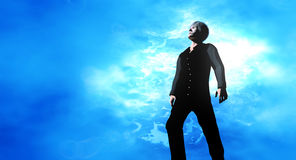 Man looking skyward Stock Photography