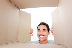 Man looking for something inside box Royalty Free Stock Image