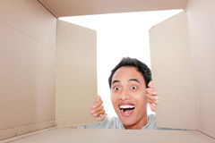 Man looking for something inside box. Portrait of a man looking for something inside box Royalty Free Stock Photos