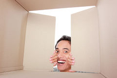 Man looking for something inside box Royalty Free Stock Photo