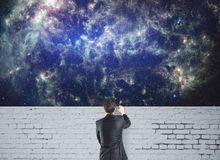 Man looking at space Stock Image