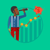 Man looking through spyglass at piggy bank. African-american businessman looking through spyglass at piggy bank standing at the top of growth graph. Business Royalty Free Stock Photo
