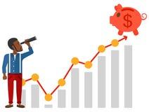 Man looking through spyglass at piggy bank. An african-american man looking through spyglass at piggy bank standing at the top of growth graph vector flat design Stock Photos