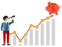 Man looking through spyglass at piggy bank. An asian man looking through spyglass at piggy bank standing at the top of growth graph vector flat design Stock Photography
