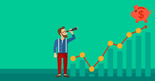 Man looking through spyglass at piggy bank. A hipster man with the beard looking through spyglass at piggy bank standing at the top of growth graph on a green Stock Photos
