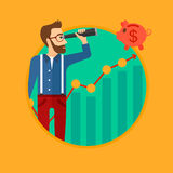 Man looking through spyglass at piggy bank. A hipster man with the beard looking through spyglass at piggy bank standing at the top of growth graph. Vector flat Stock Photography
