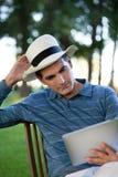 Man Looking at Tablet PC Screen Royalty Free Stock Photo