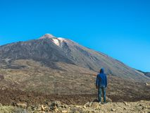 Man looking at Teide- national park tenerife Royalty Free Stock Images