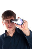Man looking through a telescope Royalty Free Stock Images