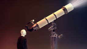 Man looking through a telescope. 3d render Stock Image
