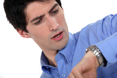 Man looking at the time Royalty Free Stock Photography