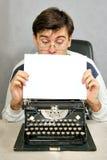 Man looking to blank sheet royalty free stock image