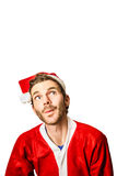 Man looking to christmas advertising copy space Royalty Free Stock Image