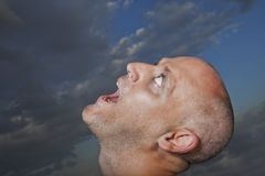 Man looking towards sky. And shouting Royalty Free Stock Photos