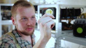 Man looking at trying bitcoin with teeth