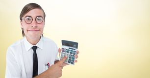 Man looking up with calculator against yellow background. Digital composite of Man looking up with calculator against yellow background Stock Image