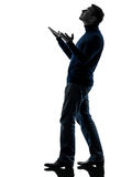 Man looking up happy silhouette full length Royalty Free Stock Image