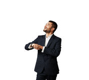 Man looking up over white Stock Photography