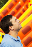 Man looking up and smiling Royalty Free Stock Images