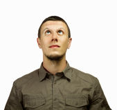 Man looking up. Young man looking up, space for text Royalty Free Stock Image