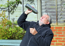 Man looking into  a vacuum flask. Royalty Free Stock Photo