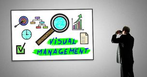 Visual management concept on a whiteboard. Man looking at visual management concept through binoculars stock photography