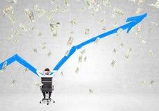 Man looking at wall, money falling Stock Photos