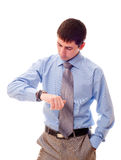 Man looking at watch Stock Photography