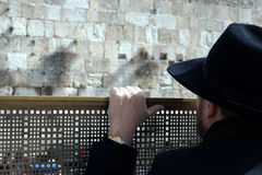 Man looking at the Western Wall, Jerusalem Stock Photos