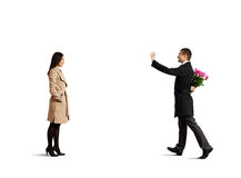 Man looking at woman and greeting Stock Image