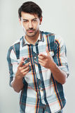 Man looking at you. Confident man looking at you and point his finger at you Stock Images