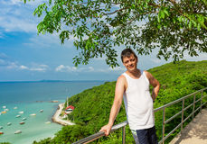 A man at a lookout point Stock Images